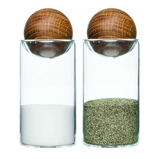 "Oval Oak Stopper Salt and Pepper Set - By Sagaform - 4.5"" High"