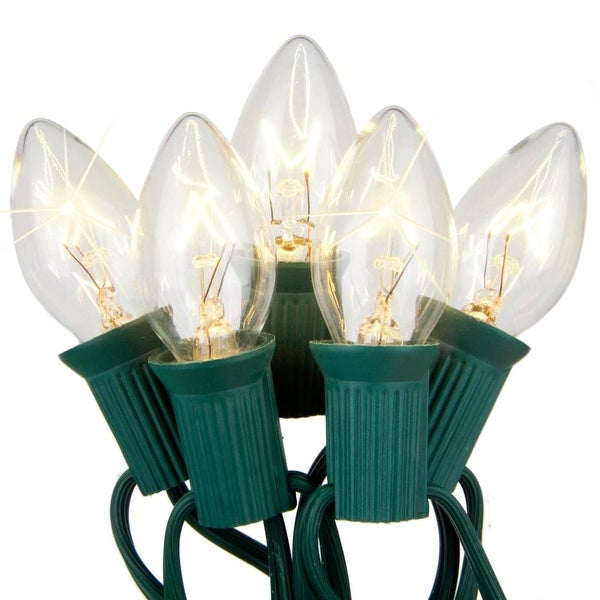 Wintergreen Lighting 67241 25 C7 Twinkle 5W Holiday Bulbs on Green Wire - CLEAR - N/A