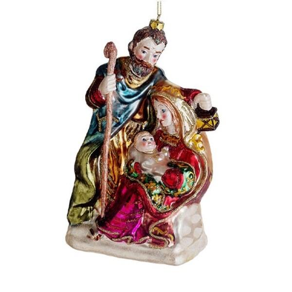 "7"" Religious Holy Family Mary, Joseph & Jesus Glass Nativity Christmas Ornament - multi"