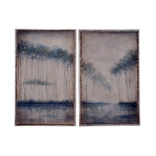 GuildMaster 161704S 48 Inch x 30 Inch Ladies by the Lake Two Panel Framed Hand-Painted Art on Fabric
