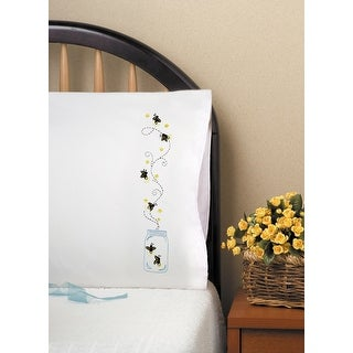 """Stamped Pillowcase Pair For Embroidery 20""""X30""""-Fireflies"""