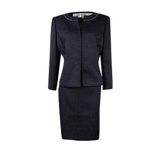 Tahari Women's Petite Beaded Jacquard Skirt Suit