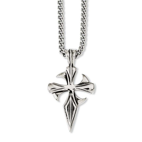 Chisel Stainless Steel Polished & Antiqued Dagger Cross 22in Necklace (3 mm) - 22 in