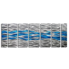 Statements2000 Aqua Blue / Silver Modern Abstract Metal Wall Art Painting by Jon Allen - Caliente Aqua