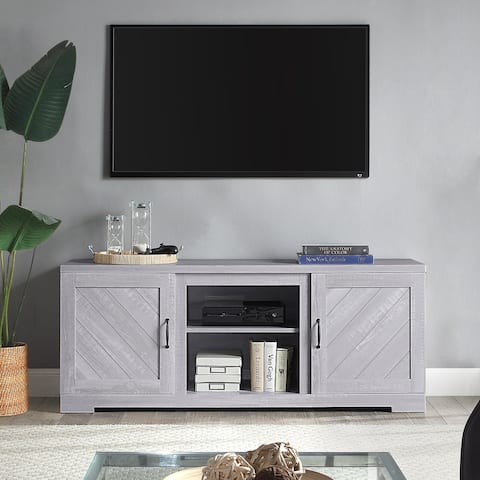 """BELLEZE 58"""" Barn Door TV Stand Console For TVs Up To 65"""", Stone Grey - standard"""