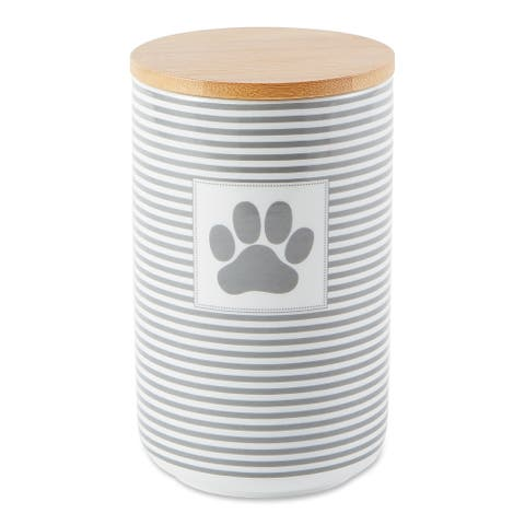 DII Gray Stripe With Paw Patch Ceramic Treat Canister