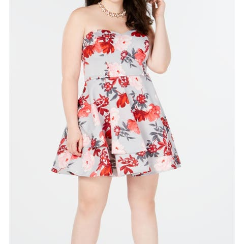 B. Darlin Womens Dress Gray Size 20W Plus Skater Floral Print Strapless