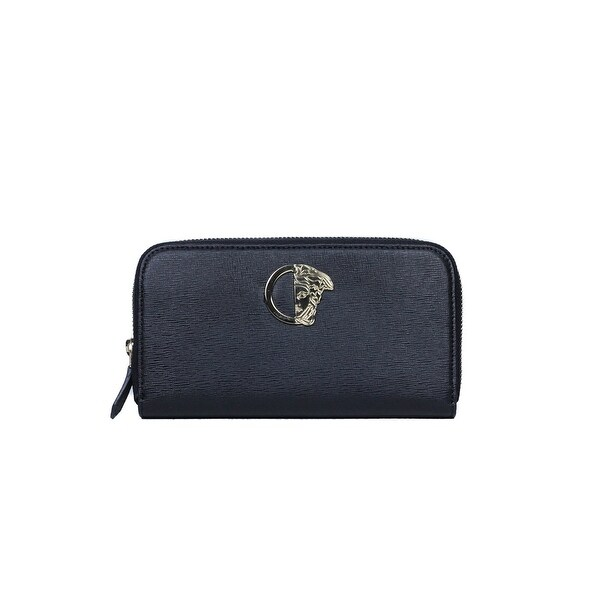 Versace Collection Saffiano Black Grained Leather Continental Wallet
