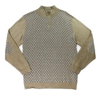 Tasso Elba NEW Brown Mens Size XL 1/2 Zip Diamond Knit Patch Sweater