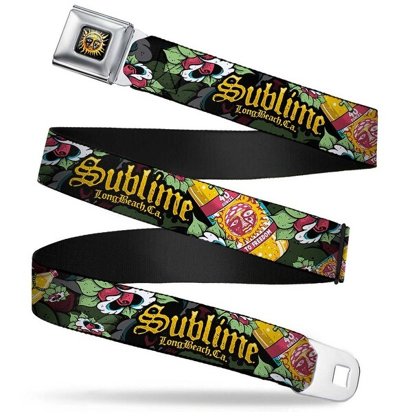 Sublime Sun Logo Full Color Sublime 40 Ounces To Freedom Roses Scattered Seatbelt Belt