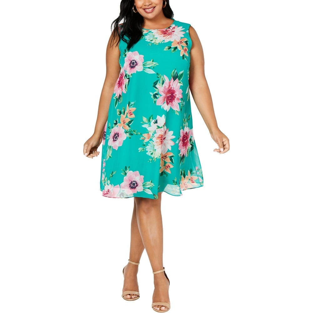 Jessica Howard Womens Plus Casual Dress Trapeze Floral Print - Green