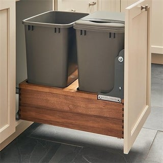 Rev A Shelf Double 50 qt 4WC Series Bottom Mount Trash Pull-Out wit