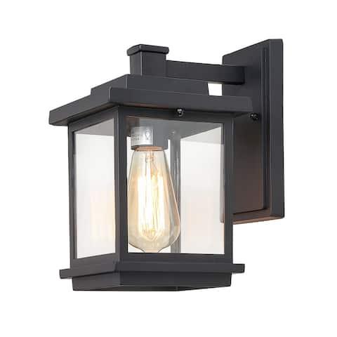 "LNC Modern Farmhouse Black 1-light Patio Outdoor Wall Sconce - L6.7""X W9.1"" X H11.8"""