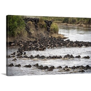 """Wildebeests crossing Mara River, Serengeti National Park, Tanzania"" Canvas Wall Art"