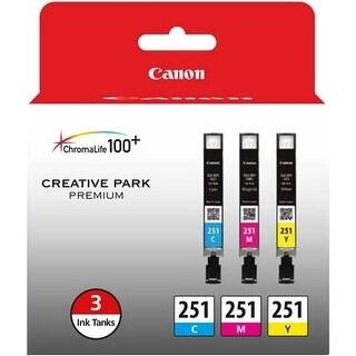 Canon 6514B009 Canon CLI-251 Ink Cartridge - Cyan, Magenta, Yellow - Inkjet - 3 / Pack