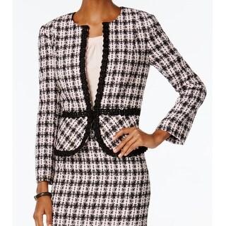 Tahari Women S Black And White Tweed Belted Coat Free