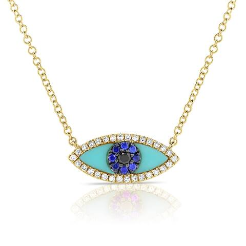 Turquoise, Sapphire & Diamond Evil Eye Necklace 14K Yellow Gold by Joelle Collection