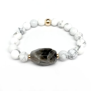 """White Howlite & Grey Labradorite Rock Candy 7"""" Bracelet"""