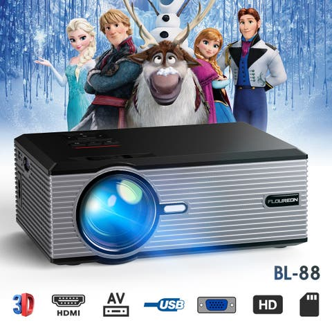 FLOUREON 800*480 Portable Home Movie Projector 20DB Quiet 1080P Support VGA USB AV SD HDMI TV