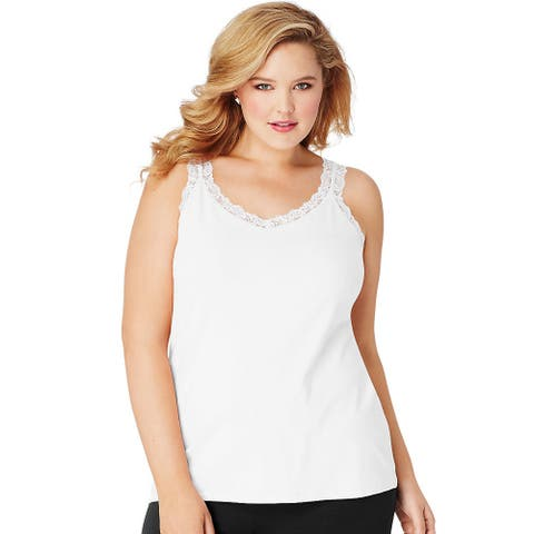 JMS Essentials Stretch Jersey Lace Trim Tank - Size - 2X - Color - White