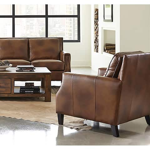 Leaton Brown Sugar Upholstered Recessed Arm Chair