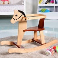 Gymax Baby Kids Toy Wooden Rocking Horse Animal Rider Chair Bar Security Boys Girls - as pic