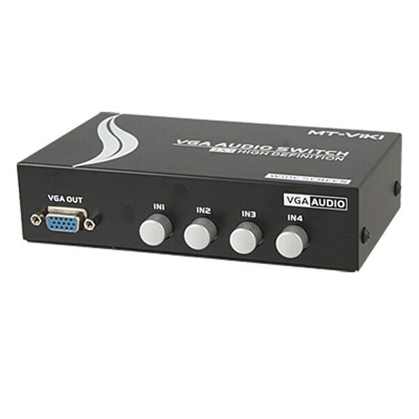Unique Bargains HD 15 Pin VGA Ports In Audio Splitter Switch Box Black