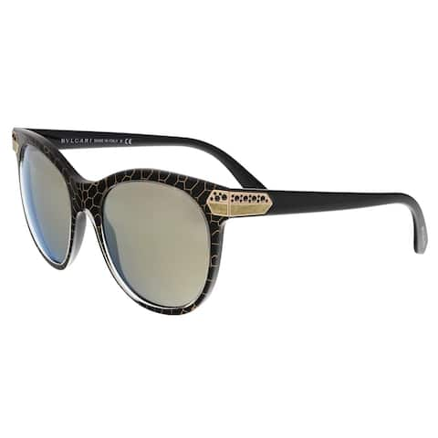 Bulgari BV8185B 54215A Crystal Gold/Mesh Black Cat Eye Sunglasses - 55-19-140
