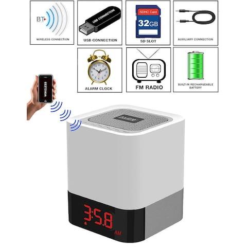 Boytone BT-83CR Portable FM Radio Alarm Clock Wireless Bluetooth 4.1 Speaker, 3-Way Night Light Touch Lamp, Built-in Rechargeabl