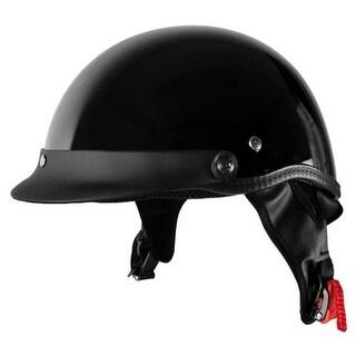 Half Motorcycle Helmet with Visor - Matte Black, Adult Medium