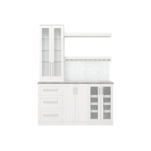 NewAge Products Home Bar 7-Piece Cabinet Set with Glass Subway Tile
