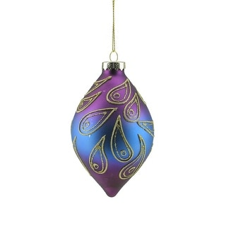 """5"""" Regal Peacock Purple, Blue and Gold Glittered Glass Finial Christmas Ornament"""