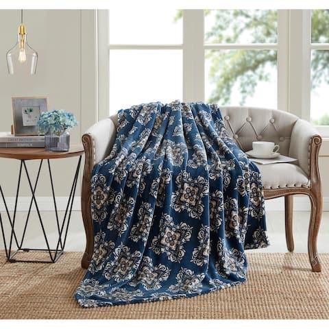 Asher Home Blue Geometric Diamond 50 x 60 inches Throw Blanket