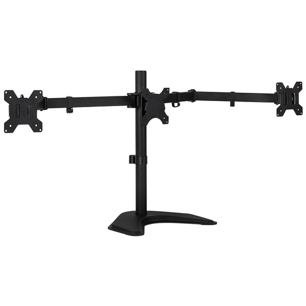 "Mount-It! Triple Monitor Stand Freestanding Desk Mount Fits 3 Universal Monitors Up to 27"" Inches"