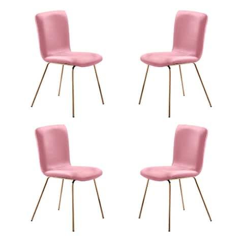 Art-Leon Modern Velvet Fabric Dining Chairs Set of 2 with Golden Legs