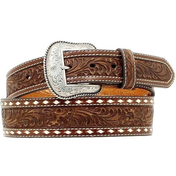 Nocona Western Belt Mens Leather Tooled Tapered Mocha