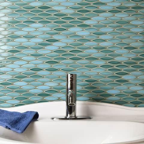 "SomerTile Pescado Glossy Agua 12"" x 12.5"" Porcelain Mosaic Tile"