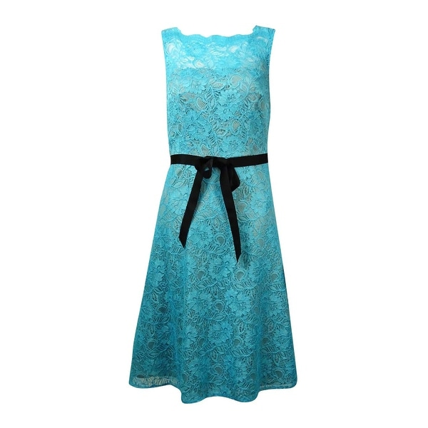 Calvin Klein Women's Belted Illusion V-Back Lace Dress - manganese/khaki
