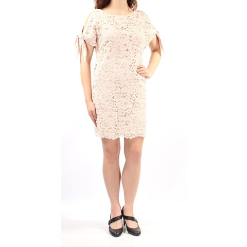 VINCE CAMUTO Womens Pink Slitted Tie Floral Short Sleeve Jewel Neck Above The Knee Dress Size: 8