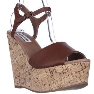 Steve Madden Korkey Wedge Sandals - Cognac