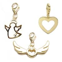 Julieta Jewelry Wings Of Love, Angel, Heart 14k Gold Over Sterling Silver Clip-On Charm Set