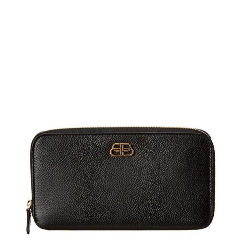 Balenciaga Bb Leather Zip Around Wallet - NoSize