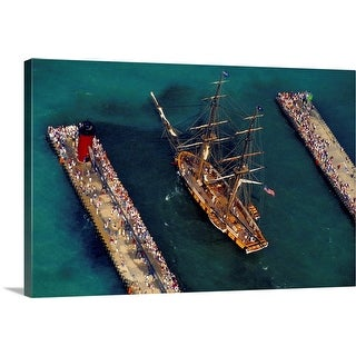 """""""Aerial view of a tall ship during festival, South Haven, Michigan"""" Canvas Wall Art"""