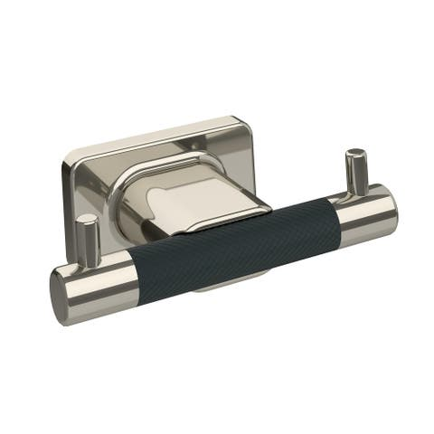 Esquire Double Robe Hook in Polished Nickel/Black Bronze - 4-1/2 in.