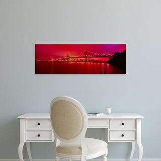 Easy Art Prints Panoramic Images's 'Suspension bridge lit at night, Bay Bridge, San Francisco, California' Canvas Art