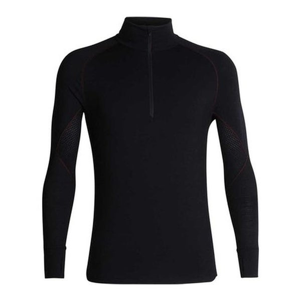 d9465b1c9cc Shop Icebreaker Men's 260 Zone Long Sleeve Half Zip Baselayer Black/Chili  Red - Free Shipping Today - Overstock - 25668114