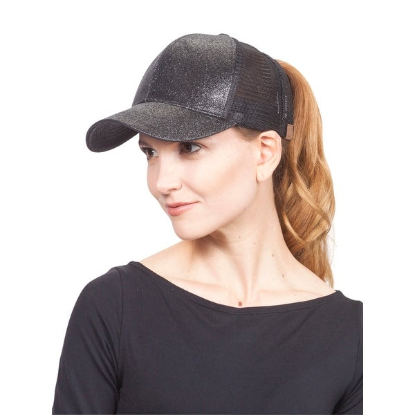 CC Glitter Pony Tail Outlet Mesh Adjustable Hat. Opens flyout.