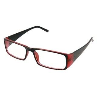 Black Arms Rectangle Lens Plastic Eyeglasses for Ladies