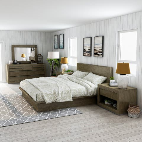 Furniture of America Puly Walnut Solid Wood 5-piece Bedroom Set