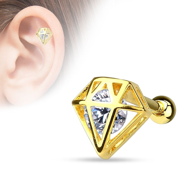 {Gold/Clear} CZ Incased Diamond gold-plated Over Steel Cartilage/Tragus Barbell (Sold Ind.)